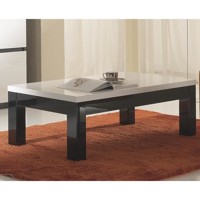 table basse carr e ou rectangulaire noir et blanc laqu design catarina carr e achat vente. Black Bedroom Furniture Sets. Home Design Ideas