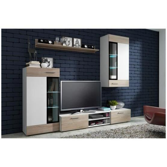 Meuble tv design mural tadeo sonoma et blanc achat for Meuble living blanc