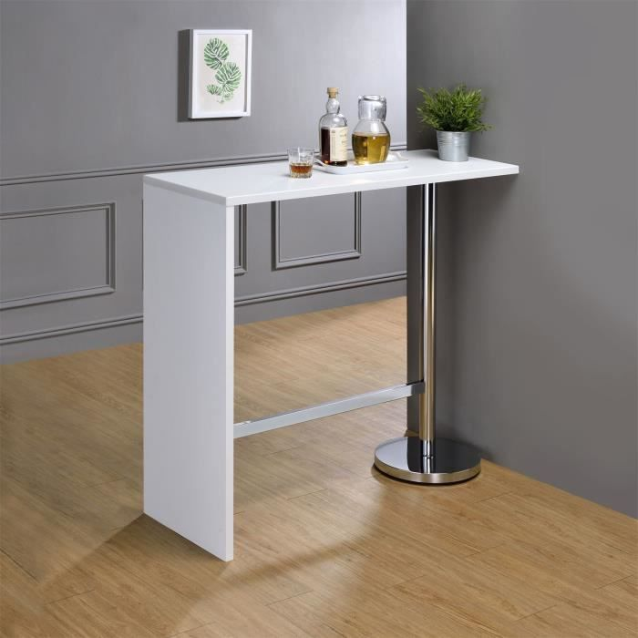 table haute de bar ricardo mange debout comptoir pi tement m tal chrom bois mdf blanc mat. Black Bedroom Furniture Sets. Home Design Ideas
