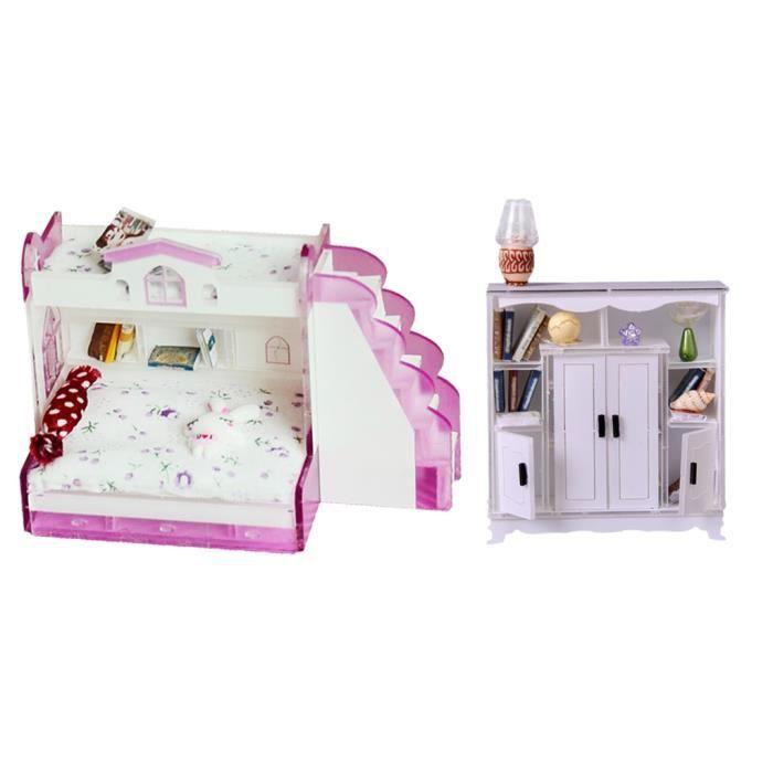 Dollhouse En Bois Lit Superposé Ensemble de meubles