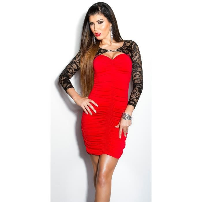 Robe Droite Moulante Rouge Broderie Dentelle Noire Sexy Femme Rouge Achat Vente Robe Cdiscount