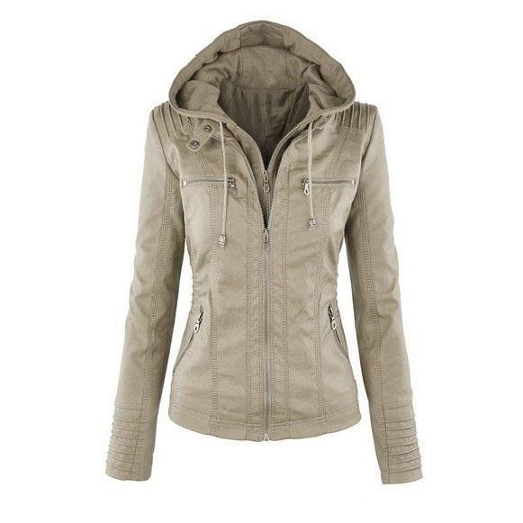 Capuche Grand Femme Vogue Cuir À Taille Veste Jacket Manteau Blouson En bv7y6gYf