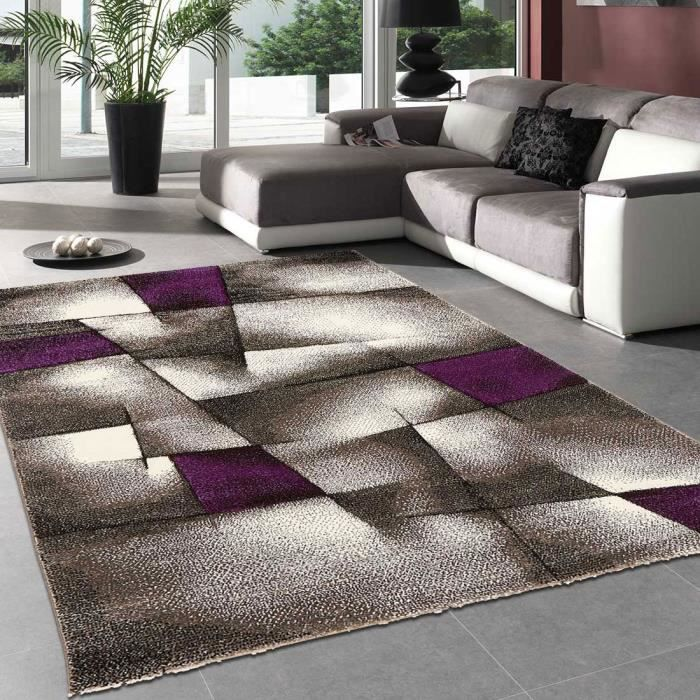 tapis salon design brillance ultimate violet 200x290 par unamourdetapis tapis moderne achat. Black Bedroom Furniture Sets. Home Design Ideas