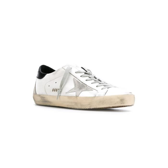 GOLDEN GOOSE HOMME GCOMS590W55 BLANC CUIR BASKETS