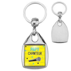 PORTE-CLÉS Porte-Clés Carré Acier Papy Chanteur - Micro - Hum