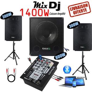 PACK SONO PACK SONO 1400W CUBE1512 + 2 PIEDS ENCEINTES + CAB