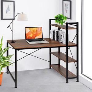 BUREAU  VECELO Table de Bureau avec Etagère de Rangement,