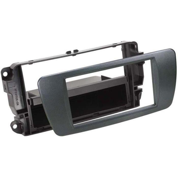 Adaptateur de façade 2-DIN avec vide poche Seat Ibiza 08 > azabache noir