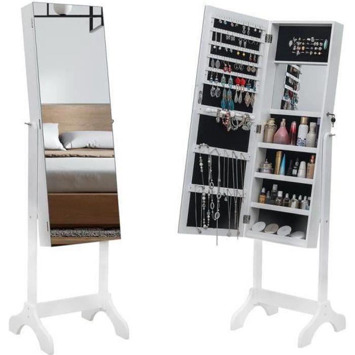 Armoire à bijoux sur pied avec miroir 59.8 - armoire de rangement Blanc