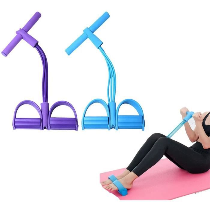 Corde de Tension Multifonctionnelle,Élastique Tension Pied de Pédale,Sit-up Bodybuilding Expander,4 Tube Jambe Exerciseur,bleu