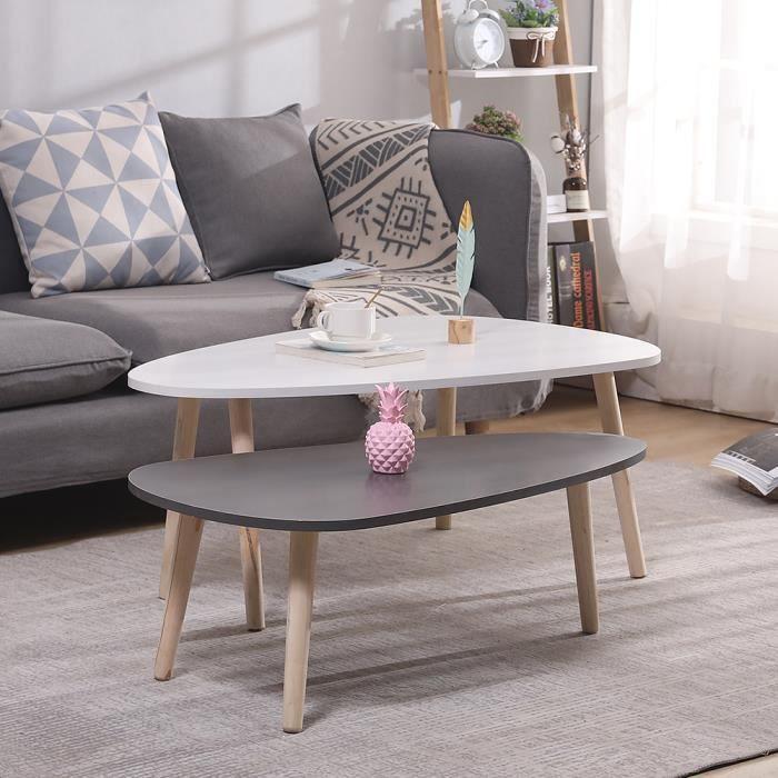 Lot de 2 tables basses gigognes laquées blanc - gris scandinave