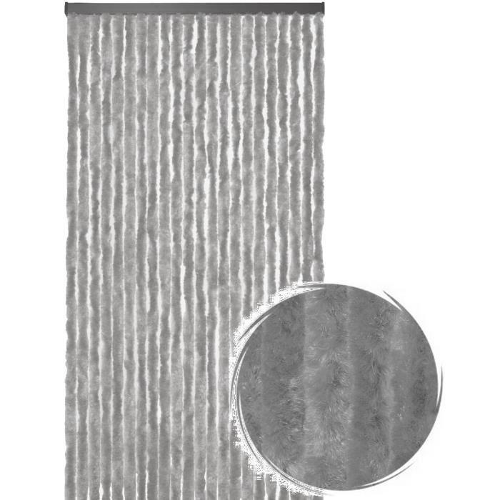 Rideau de porte Chenille de qualité supérieure, Protection de vos espaces intérieurs, Anti-Insectes 90 x 220 cm Uni gris
