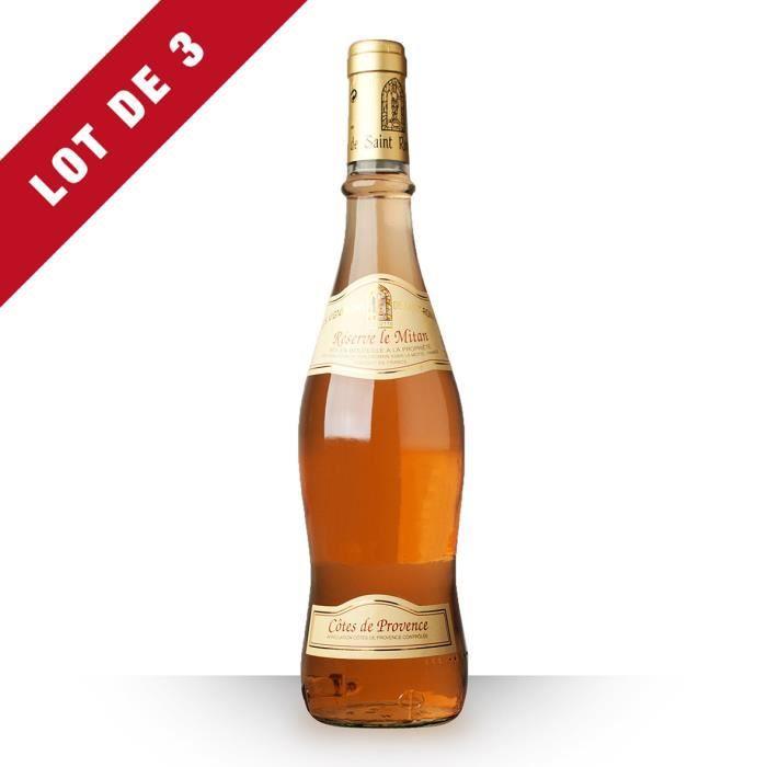 3X Les Vignerons de Saint-Romain Le Mitan 2011 Rosé 75cl AOC Côtes de Provence - Vin Rosé