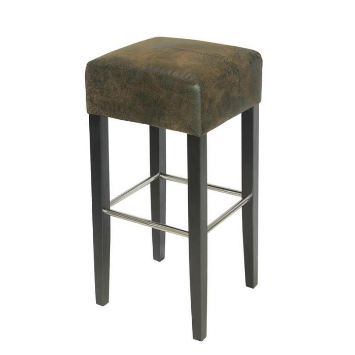 Tabouret de bar bois de hêtre massif wengé et brun vieilli - MYCO00634