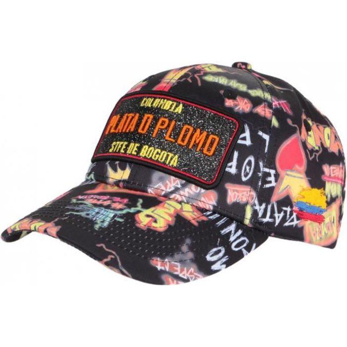 Casquette Plata o Plomo Noire et Jaune Streetwear Colombia Baseball - Taille unique - Noir