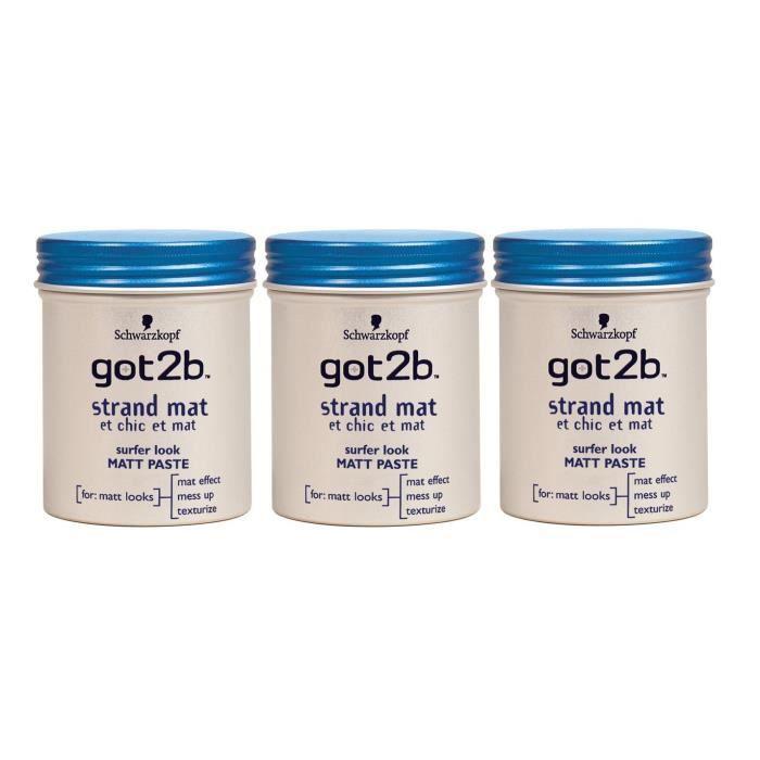 got2b - Pâte Coiffante Cheveux - Chic-Mat Pot 100 ml - Lot de 3
