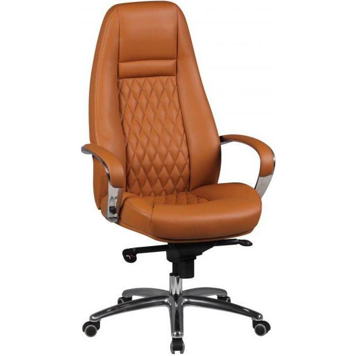 Chaise et fauteuil de bureau marron design en cuir véritable L. 68 x P. 68 x H. 120 - 130 cm collection Nouel VIV-40510 Marron