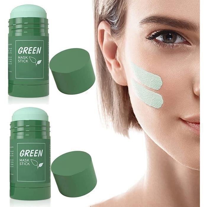 2PCS Green Mask Stick,Masque Nettoyant,Blackhead Remover Masqueteint,Hydrate,riche en extrait d'aubergine de thé vert (Green tea)