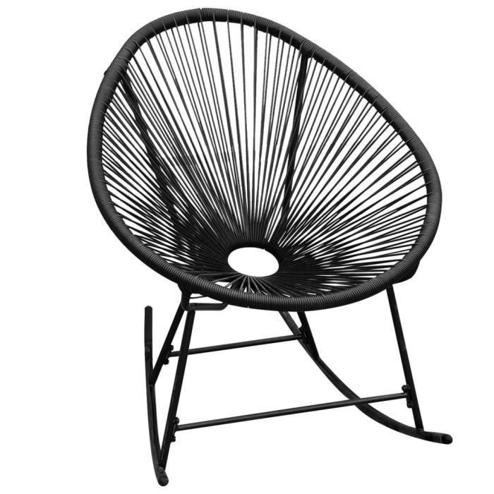 Star❀- Chaise à bascule d'extérieur Fauteuil RELAX Confortable Noir Résine tressée🌸9474