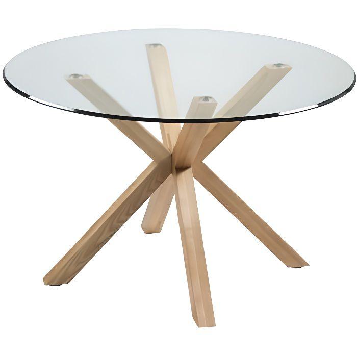 Table à manger plateau rond 120 cm verre et bois IDOL