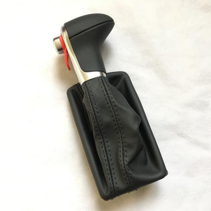 Pommeau,Pommettes de changement de vitesse, en cuir chromé, pour AUDI A6 A7 A3 A4 A5 A6 c6 Q7 Q5, 2009, 2010 - Type Black