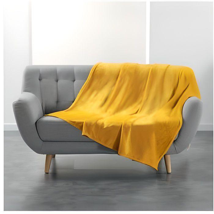 Accueil - Plaid polaire - Flanou - 180 x 220 cm - Jaune