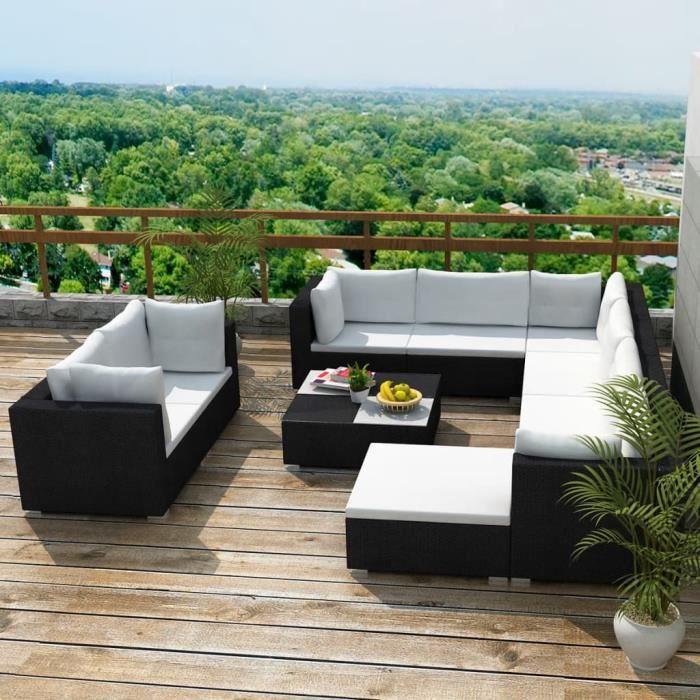 MSA Salon de jardin 10 pcs avec coussins Résine tressée Noir ✿5