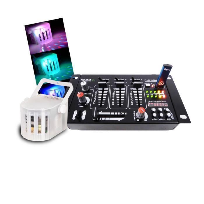 Table de mixage 4 voies 7 entrées USB/BLUETOOTH + Derby à LEDs RVBB
