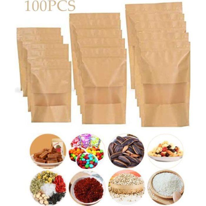 Sacs en Papier Kraft 100 Pcs Réutilisables à Fenêtre Transparente Sachets en Papier Kraft pour Emballage, café, thé, goûter