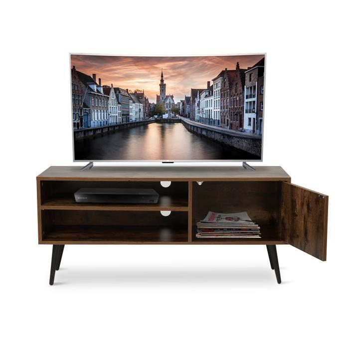 Meuble TV en bois Style industriel Pieds en métal avec étagères et trous de câble pour salon (1 porte) - Meerveil