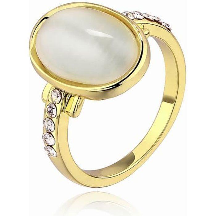 Bague d'anniversaire Doré or jaune 750/00 18K carats Bijou fantaisie haut de gamme Opale Femme Jaune Taille 56 wz-A0050
