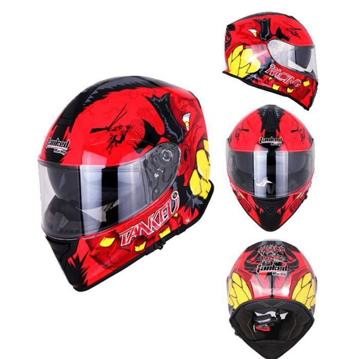 Casque Moto Intégral Pour Homme Et Femme Double Visière Casque Homologué 3C Pour Racing Avec Motif rouge Hugo