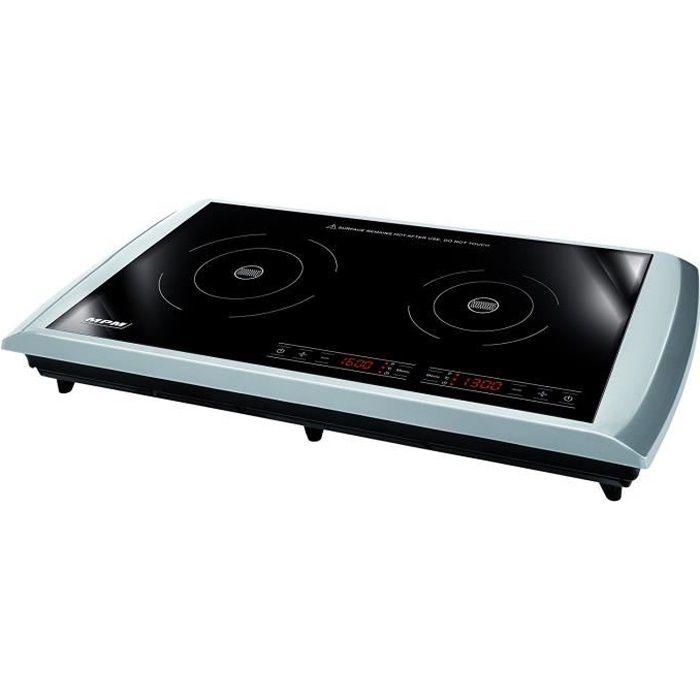 Plaque de cuisson à induction vitrocéramique, 2 plaques réglables séparément, Température de 60-240 °C 2900 Watt