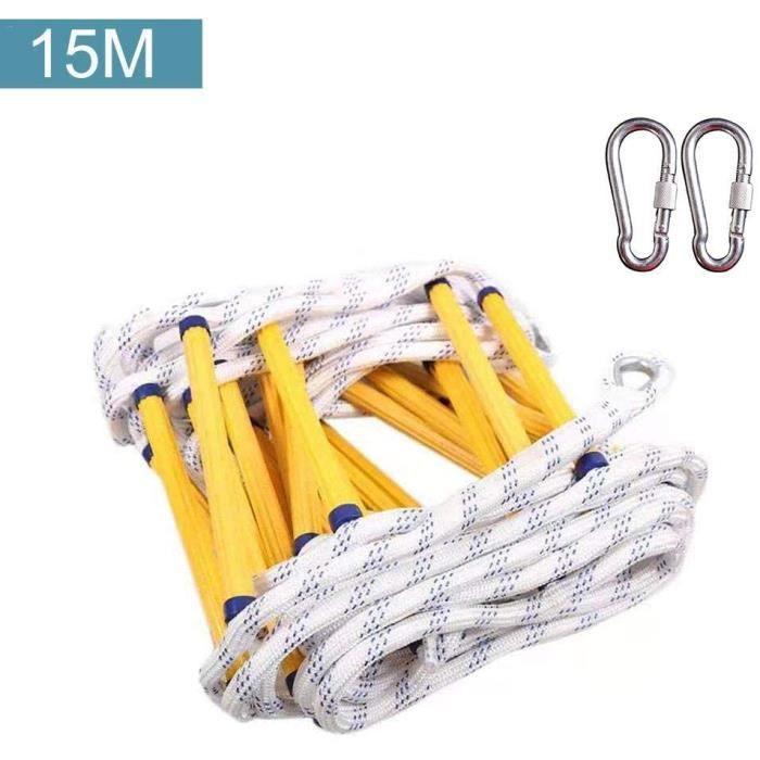 15M Échelle de Corde Sécurité de Sauvetage, échapper au Travail d'urgence,échelle de Secours Anti-dérapage,2 crochets