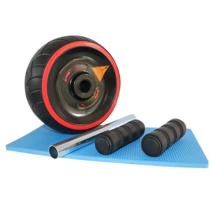 Roue de caoutchouc naturel AB Rouleau abdominale exercice Ab Core Trainer Cruncher avec le genou tapis de fitness Fitness