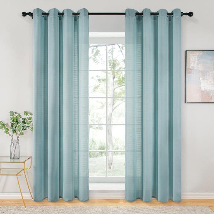 Rideaux Voilage - 140cm x 280cm - Bleu - pour Salon Chambre Cuisine - Topfinel