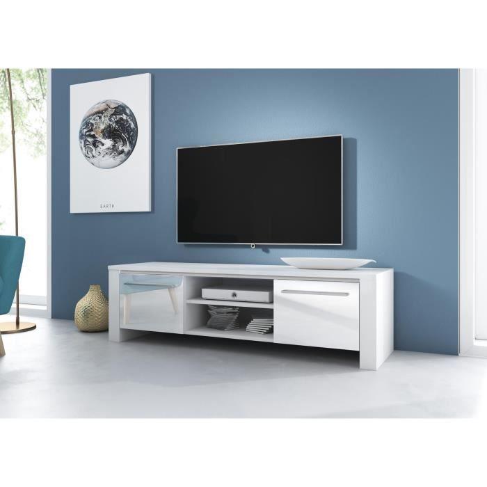 VIVALDI Meuble TV - MANHATTAN - 140 cm - blanc mat / blanc brillant sans LED - style moderne