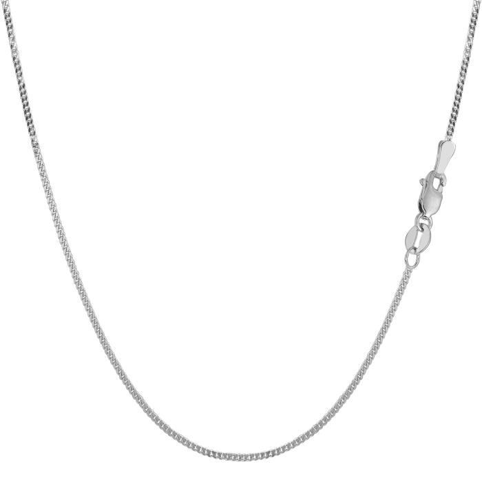 10 k Gourmette chaine collier en or blanc, 1,0 mm, 18
