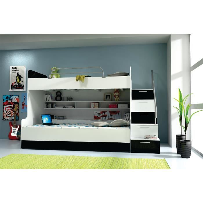 lit superposes mdf qualite blanc noir achat vente lits superpos s soldes cdiscount. Black Bedroom Furniture Sets. Home Design Ideas