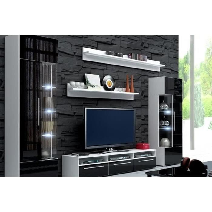 mur tv laque noir mdf ref roma achat vente meuble tv mur tv laque noir mdf ref r soldes d. Black Bedroom Furniture Sets. Home Design Ideas