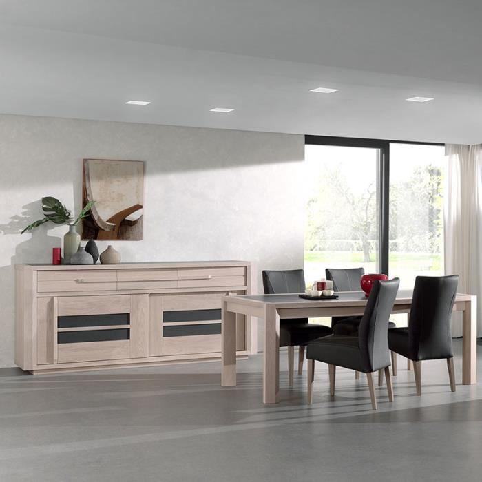 Salle à manger moderne couleur bois et gris CASSANDRE Avec ...