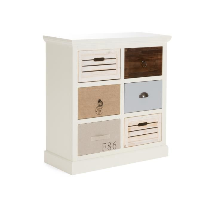grande commode blanche june avec 6 tiroirs multicolores massivum achat vente commode de. Black Bedroom Furniture Sets. Home Design Ideas