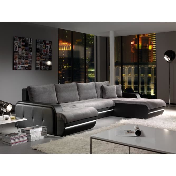 canape galaxy angle droit gris noir achat vente salon complet cdiscount. Black Bedroom Furniture Sets. Home Design Ideas