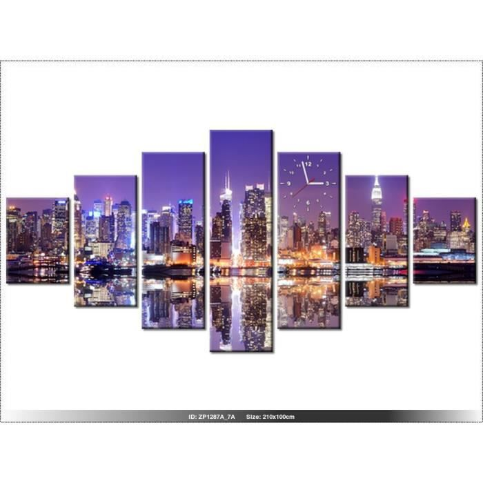 210 x100 cm new york horloge murale tableau moderne for Decoration murale geante new york