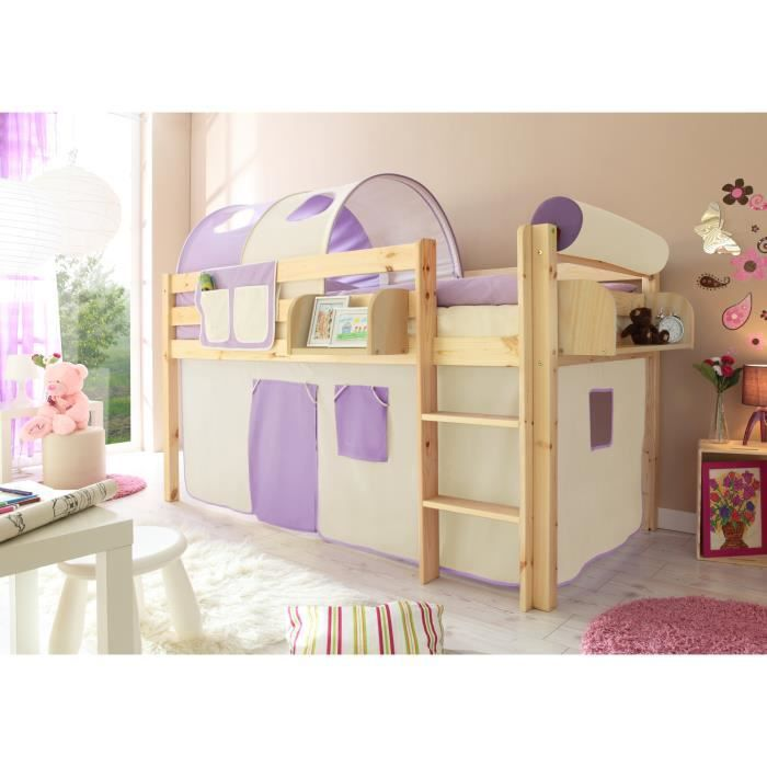 lit mezzanine enfant malte pin naturel sommier 4250393854988 achat vente lit mezzanine. Black Bedroom Furniture Sets. Home Design Ideas