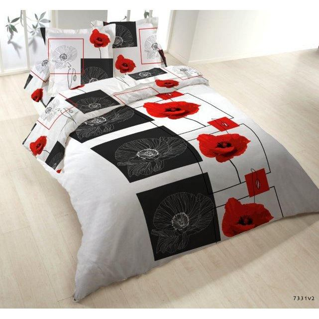 parure de lit 4 pieces microfibre micro coquelicot achat vente parure de. Black Bedroom Furniture Sets. Home Design Ideas