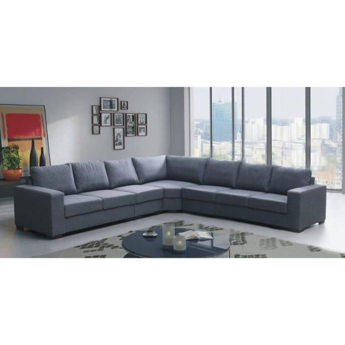 canap angle lili 7 places gris tissu achat vente canap sofa divan cdiscount. Black Bedroom Furniture Sets. Home Design Ideas