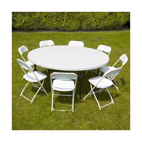 Ensemble table ronde pliante 8 personnes et 8 c achat - Salon de jardin table ronde ...