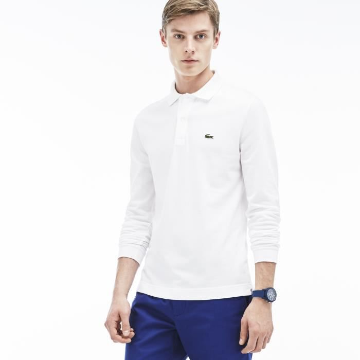 9f62bec67a6 Polo LACOSTE Blanc Manches longues Blanc BLANC - Achat   Vente polo ...