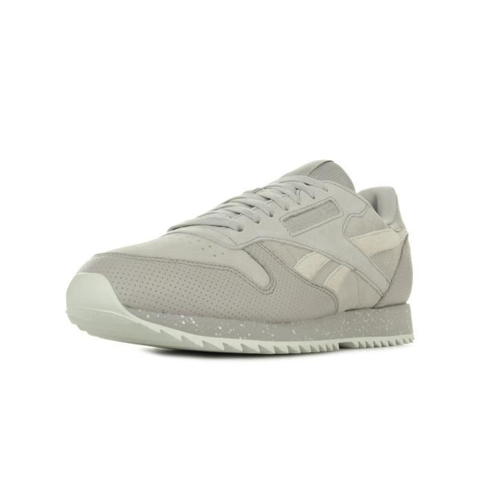 1be6fce0a68b9 REEBOK Baskets Classic Leather Ripple Sm - Homme - Gris Beige ...
